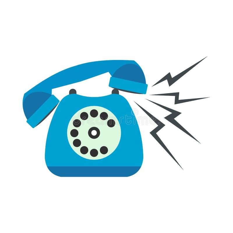 Téléphone stationnaire bleu de sonnerie à plat illustration stock
