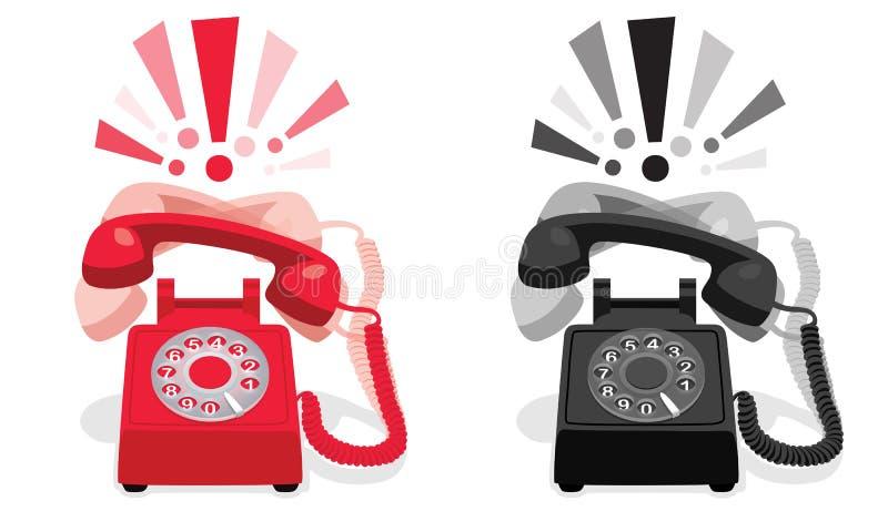 Téléphone stationnaire de sonnerie avec le cadran rotatoire et avec des marques d'exclamation illustration de vecteur