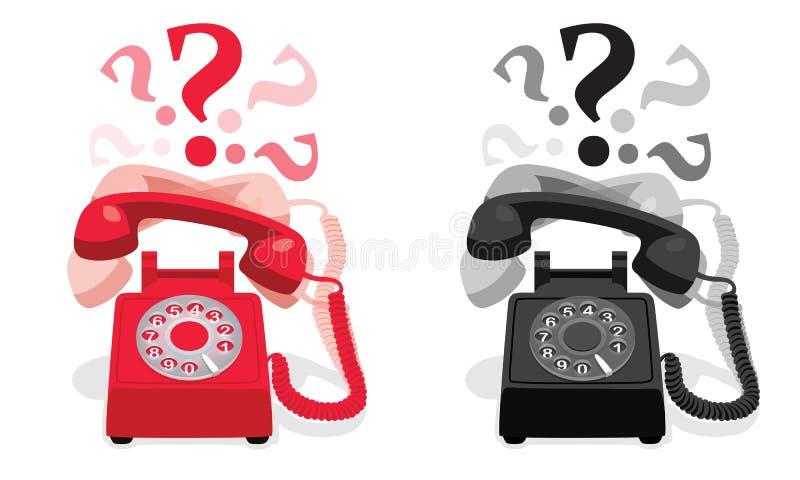 Téléphone stationnaire de sonnerie avec le cadran rotatoire et avec des points d'interrogation illustration de vecteur