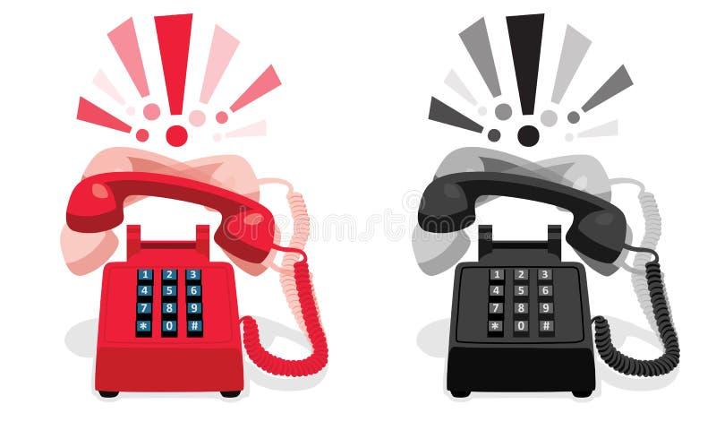 Téléphone stationnaire de sonnerie avec le clavier numérique de bouton et avec des marques d'exclamation illustration stock