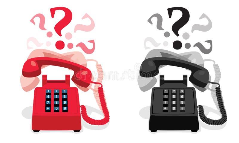 Téléphone stationnaire de sonnerie avec le clavier numérique de bouton et avec des points d'interrogation illustration de vecteur