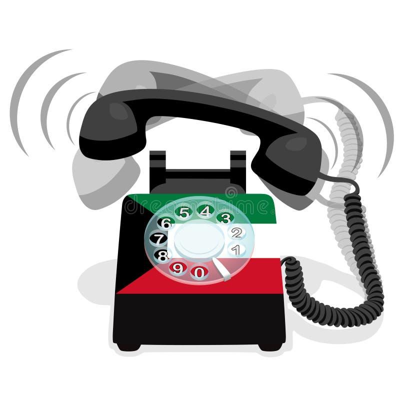 Téléphone stationnaire noir de sonnerie avec le cadran rotatoire et avec le drapeau du Kowéit illustration de vecteur