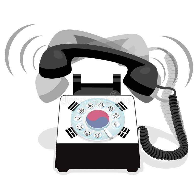 Téléphone stationnaire noir de sonnerie avec le cadran rotatoire et avec le drapeau de la Corée du Sud illustration stock