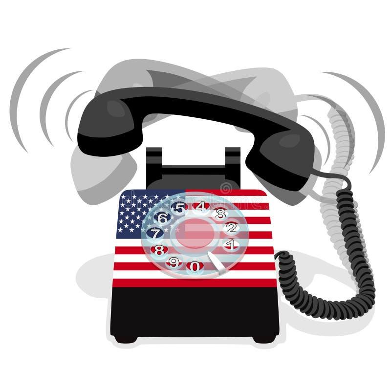 Téléphone stationnaire noir de sonnerie avec le cadran rotatoire et le drapeau des Etats-Unis illustration de vecteur