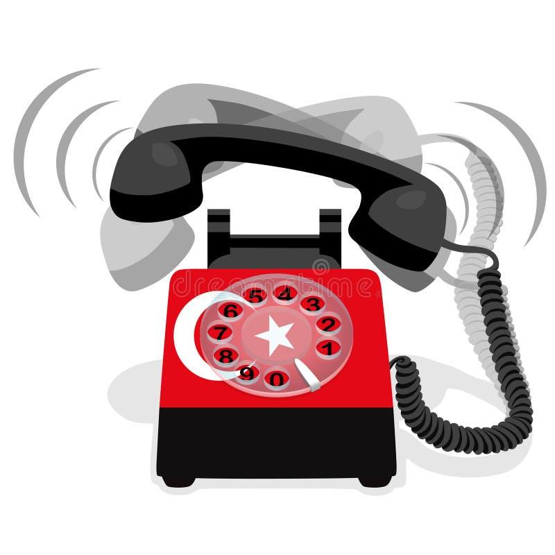 Téléphone stationnaire noir de sonnerie avec le drapeau de la Turquie Illustration de vecteur illustration libre de droits