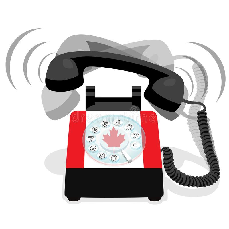 Téléphone stationnaire noir de sonnerie avec le drapeau du Canada illustration stock