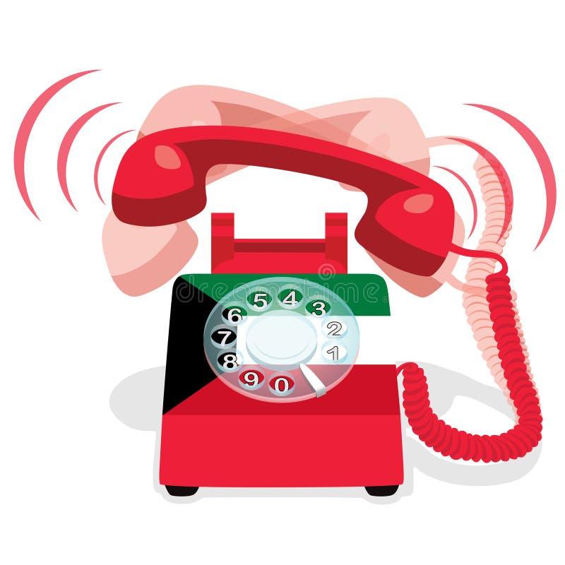 Téléphone stationnaire rouge de sonnerie avec le cadran rotatoire et avec le drapeau du Kowéit illustration libre de droits
