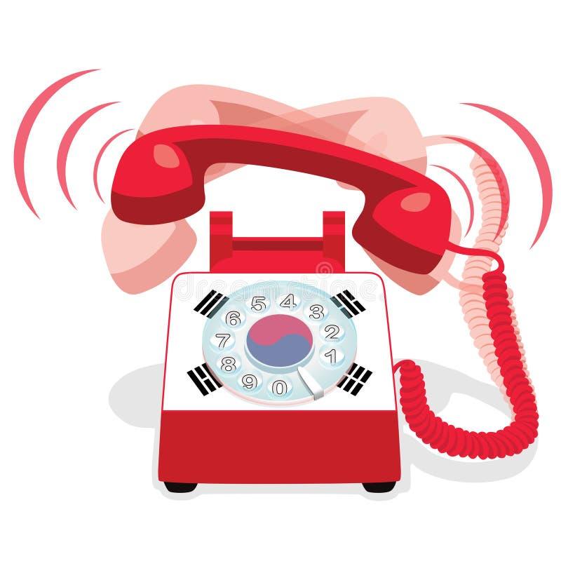 Téléphone stationnaire rouge de sonnerie avec le cadran rotatoire et avec le drapeau de la Corée du Sud illustration stock