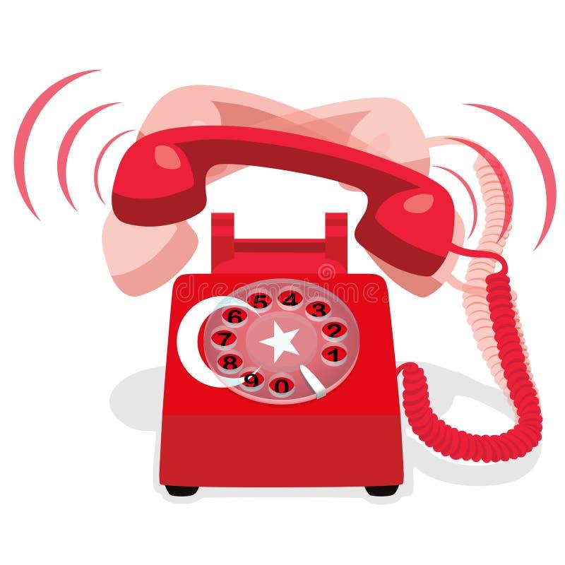 Téléphone stationnaire rouge de sonnerie avec le drapeau de la Turquie Illustration de vecteur illustration libre de droits