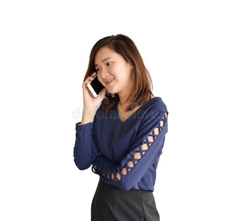 Téléphoner asiatique de femme d'affaires solated sur le fond blanc, clippi images libres de droits