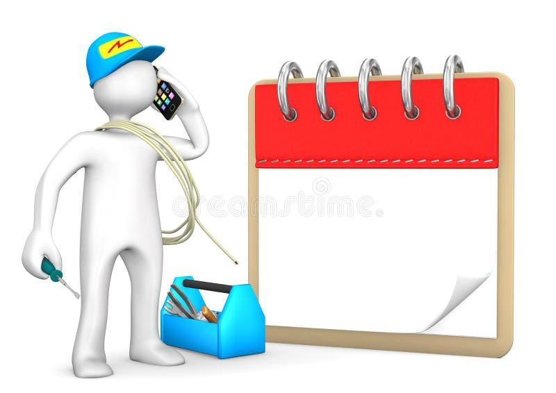 Téléphoner l'électricien Notepad illustration stock