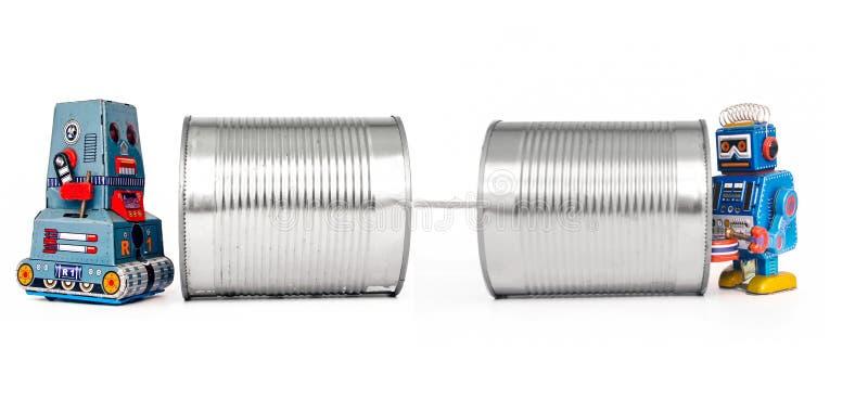Téléphones de boîte en fer blanc photos libres de droits