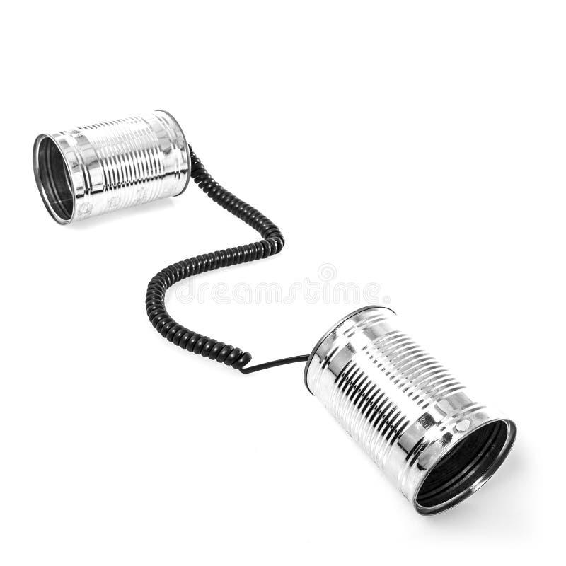 Téléphones de boîte en fer blanc images libres de droits