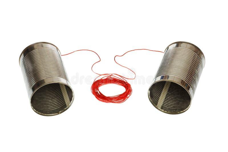 Téléphones de boîte en fer blanc photo stock
