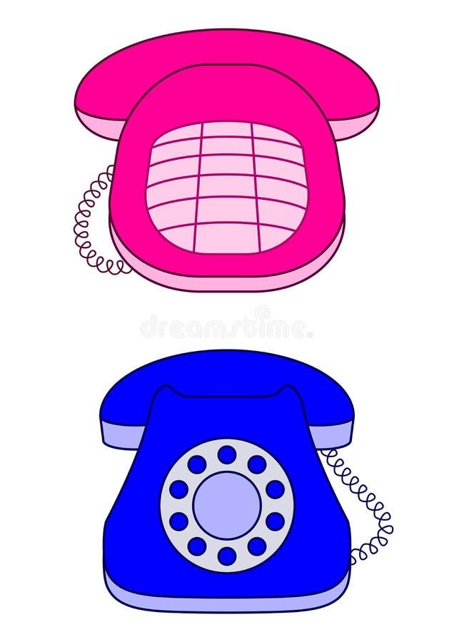 Téléphones de bureau, rose et bleu illustration libre de droits