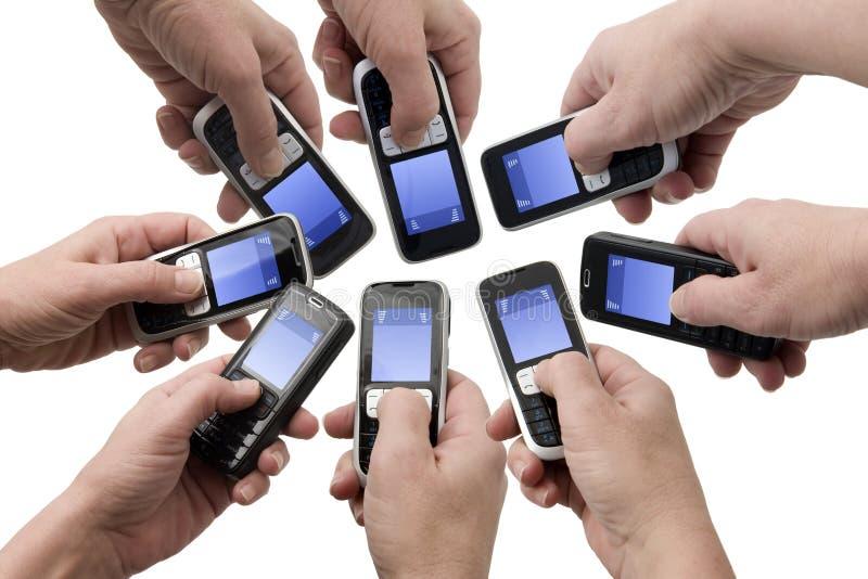 Téléphones de Mobil - cadres vides des textes photo stock