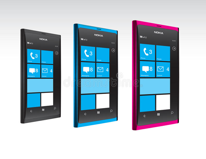 Téléphones de Nokia Lumia Windows en couleurs illustration de vecteur
