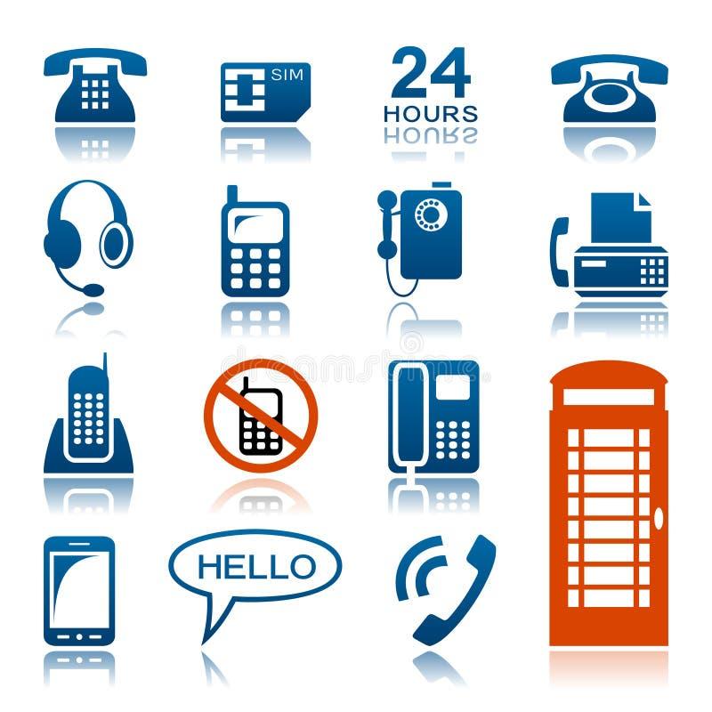Téléphones et ensemble d'icône de fax illustration libre de droits
