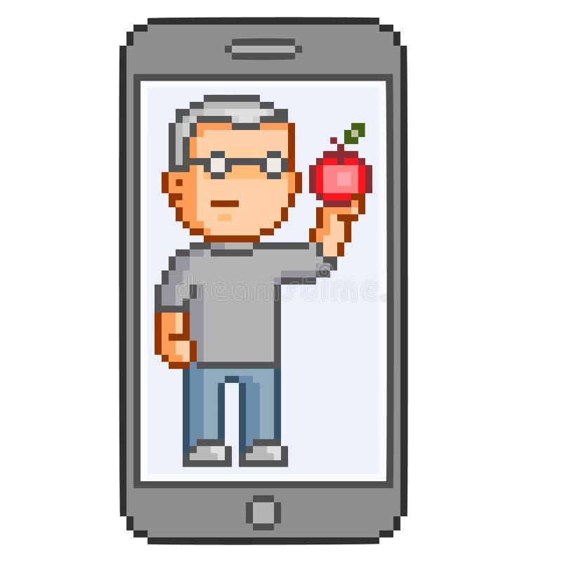 Téléphones intelligents d'art de pixel de vecteur illustration stock