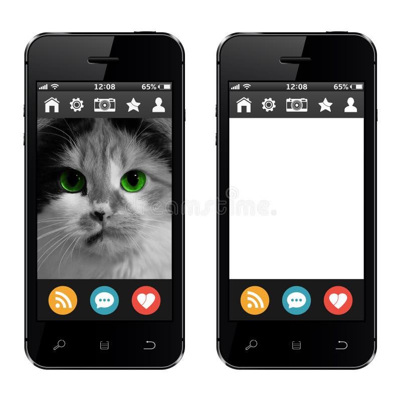 Téléphones portables avec la photo de chat et l'écran blanc vide vide illustration libre de droits