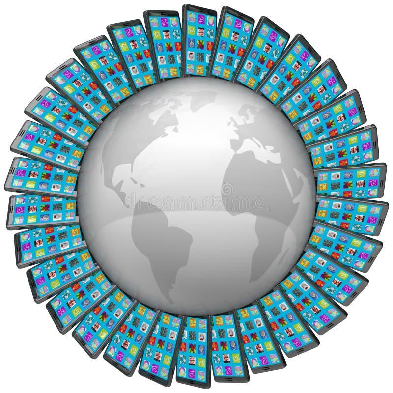 Téléphones portables intelligents autour des connexions globales du monde illustration de vecteur
