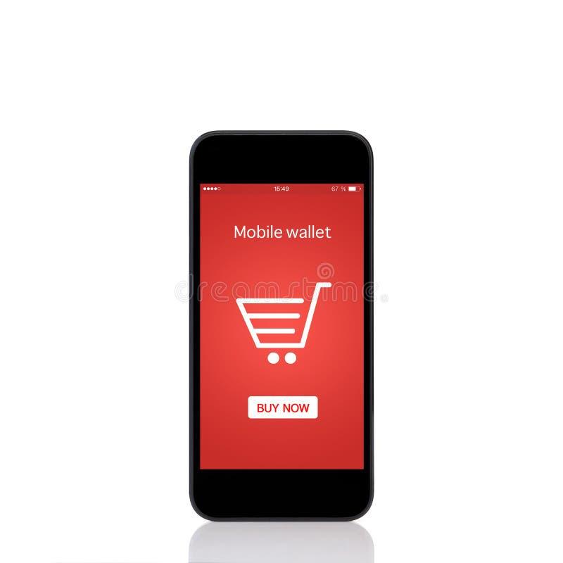 Téléphonez avec des achats mobiles d'onlain de portefeuille sur l'écran photographie stock