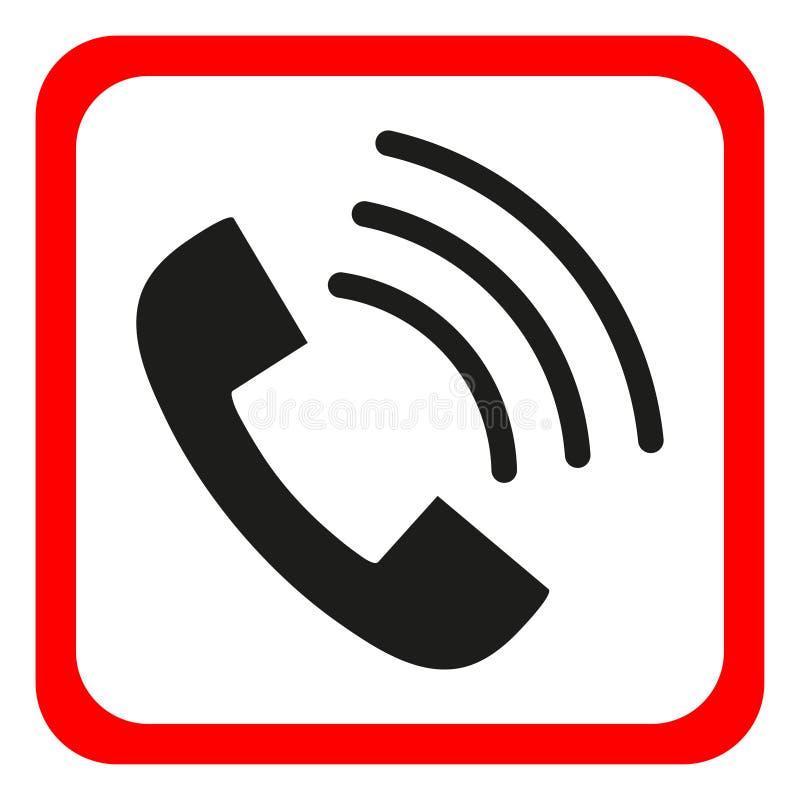 Téléphonez l'icône dans le style plat à la mode d'isolement sur le fond blanc Icône de combiné avec des vagues Téléphonez au symb illustration de vecteur