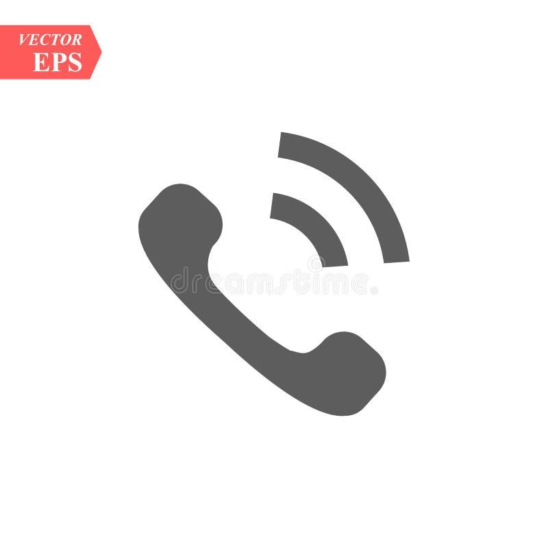 Téléphonez l'icône dans le style plat à la mode d'isolement sur le fond gris Icône de combiné avec des vagues Téléphonez au symbo illustration de vecteur