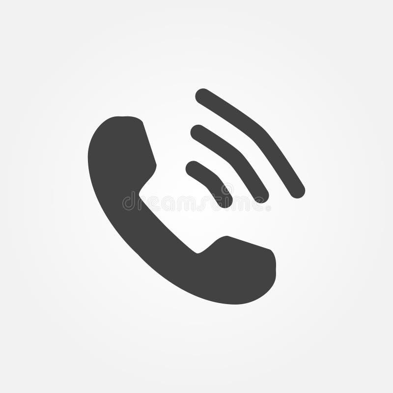 Téléphonez l'icône dans le style plat à la mode d'isolement sur le fond gris Combiné avec des vagues illustration stock