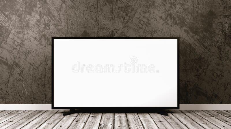 Téléviseur sur le plancher en bois illustration libre de droits