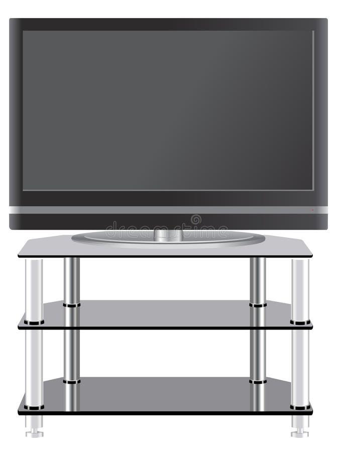 Télévision à panneau plat sur le stand moderne de TV photo libre de droits