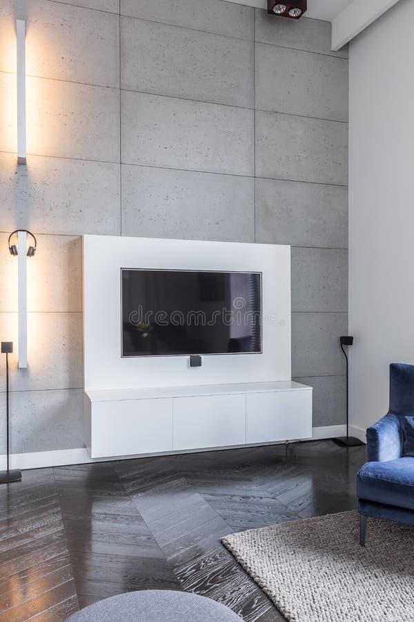 Télévision dans le salon gris photographie stock libre de droits