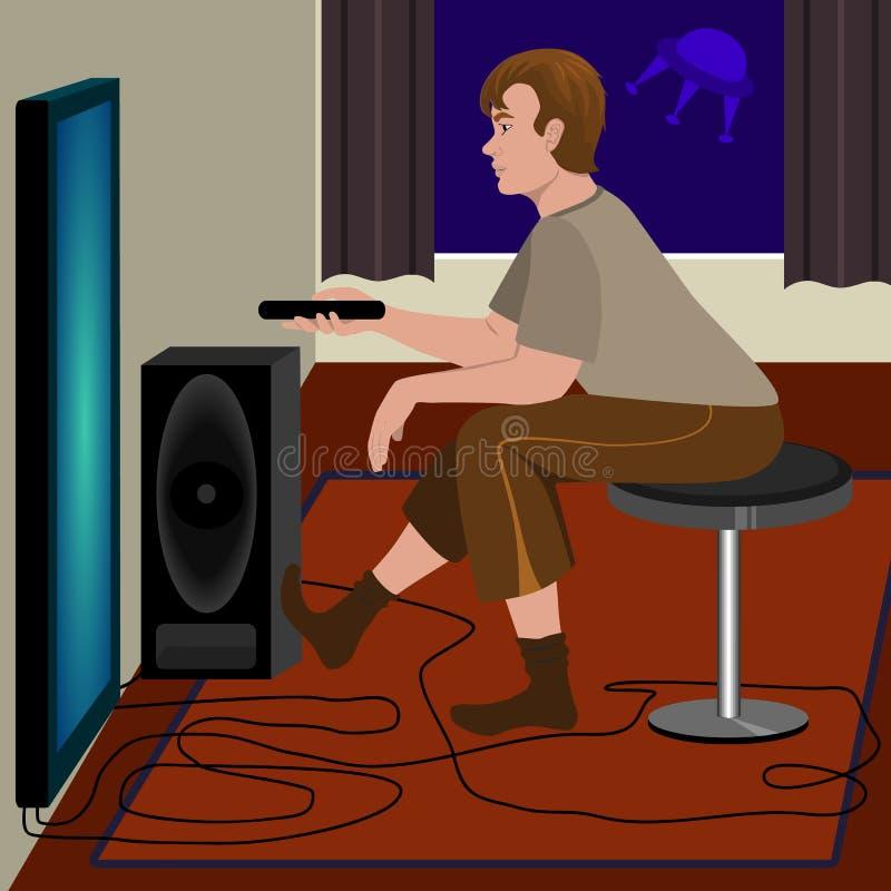 Télévision de observation d'homme illustration libre de droits