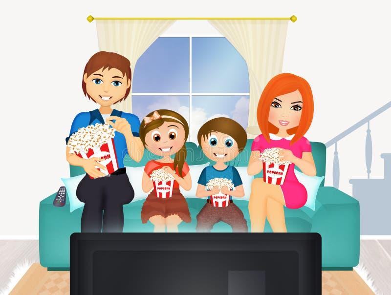 Télévision de observation de films de famille à la maison illustration libre de droits