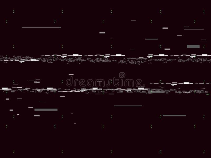 Télévision de problème sur le fond noir Lignes bruit de Glitched Aucun signal Rétro fond de VHS Illustration de vecteur illustration stock