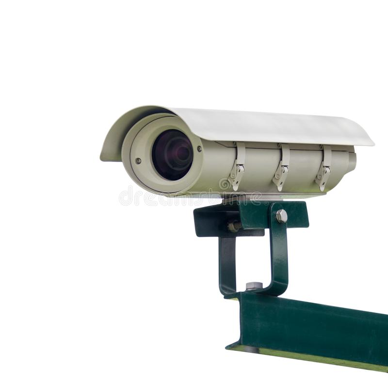 Télévision en circuit fermé, caméra de sécurité sur le fond d'isolement blanc, chemin de coupure photos stock