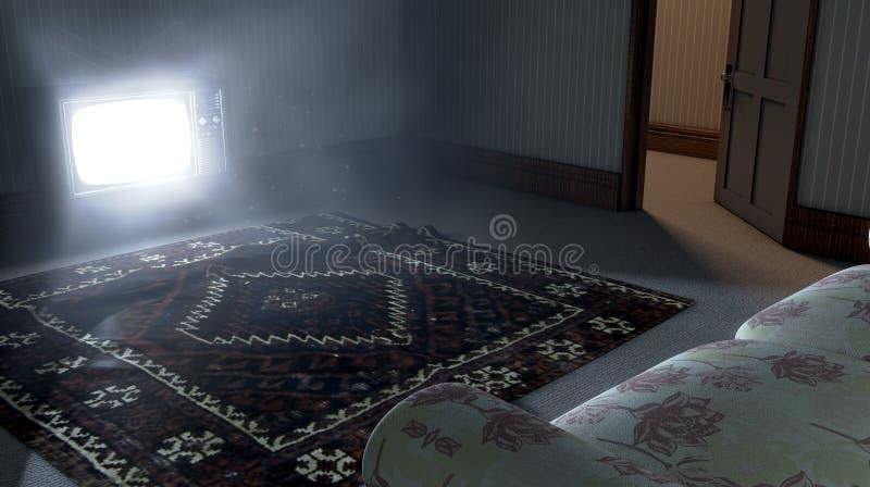 Télévision lumineuse et vieux divan isolé illustration de vecteur