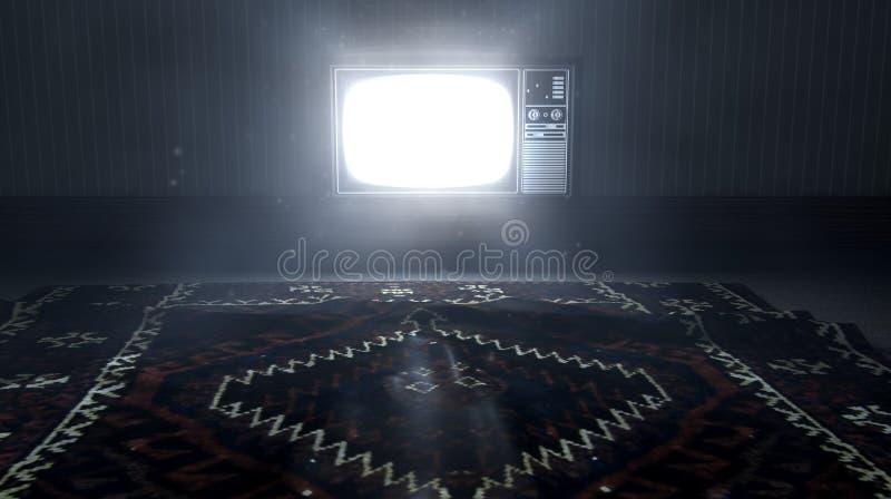 Télévision lumineuse et vieux divan isolé illustration stock