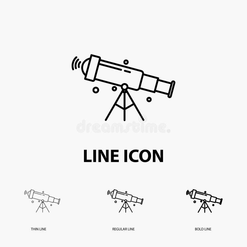 télescope, astronomie, l'espace, vue, icône de bourdonnement dans la ligne style mince, régulière et audacieuse Illustration de v illustration stock