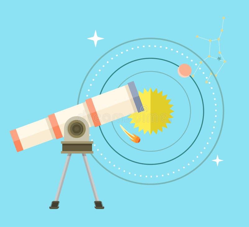 Télescope avec le plan de grand bourdonnement et de système solaire illustration stock