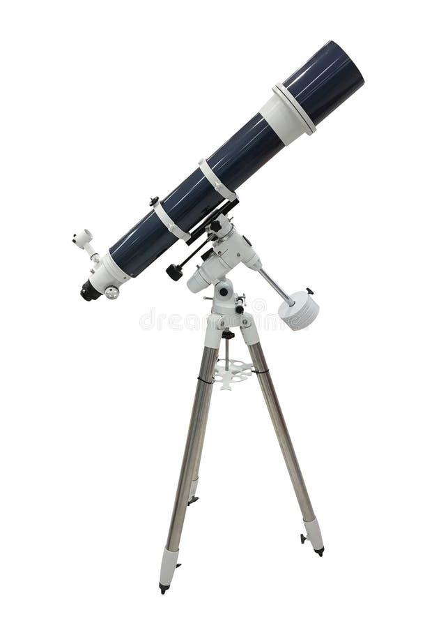 Télescope bleu sur un trépied d'isolement sur le fond blanc photographie stock libre de droits