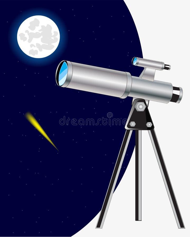 Télescope et ciel étoilé illustration de vecteur