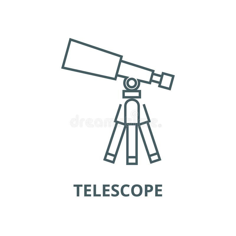 Télescope, ligne icône, concept linéaire, signe d'ensemble, symbole de vecteur de portée illustration stock