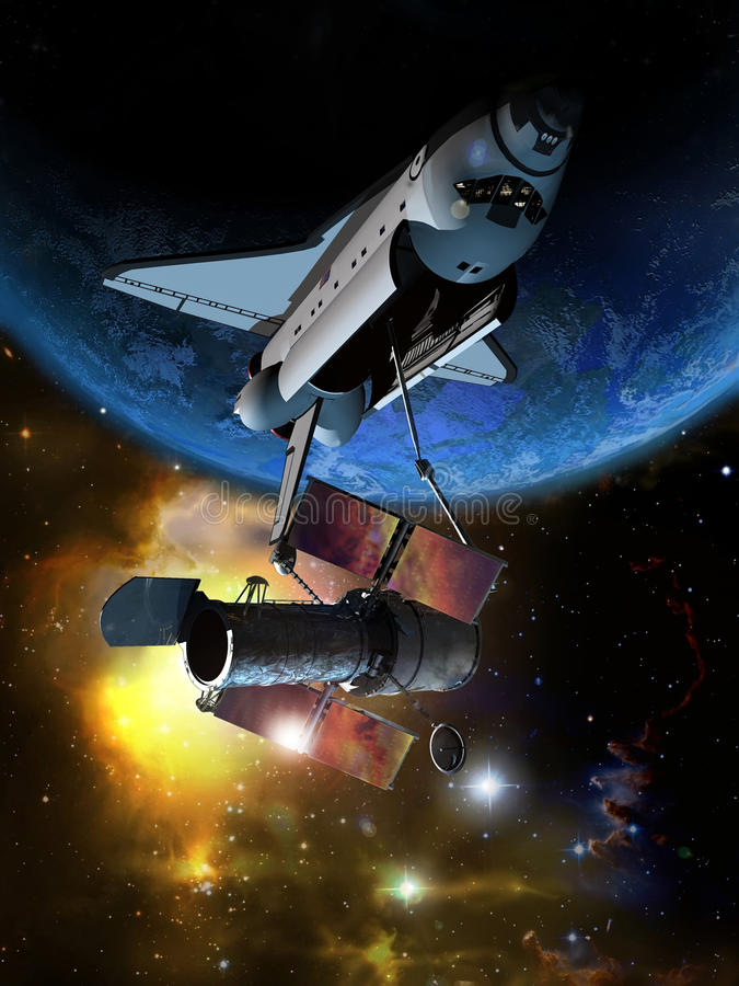 Télescope spatial illustration de vecteur