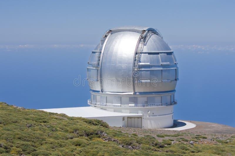 Télescopez à la crête la plus élevée de la La Palma, Espagne images libres de droits