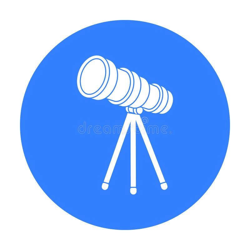 Télescopez l'icône dans le style noir d'isolement sur le fond blanc Illustration de vecteur d'actions de symbole de l'espace illustration stock
