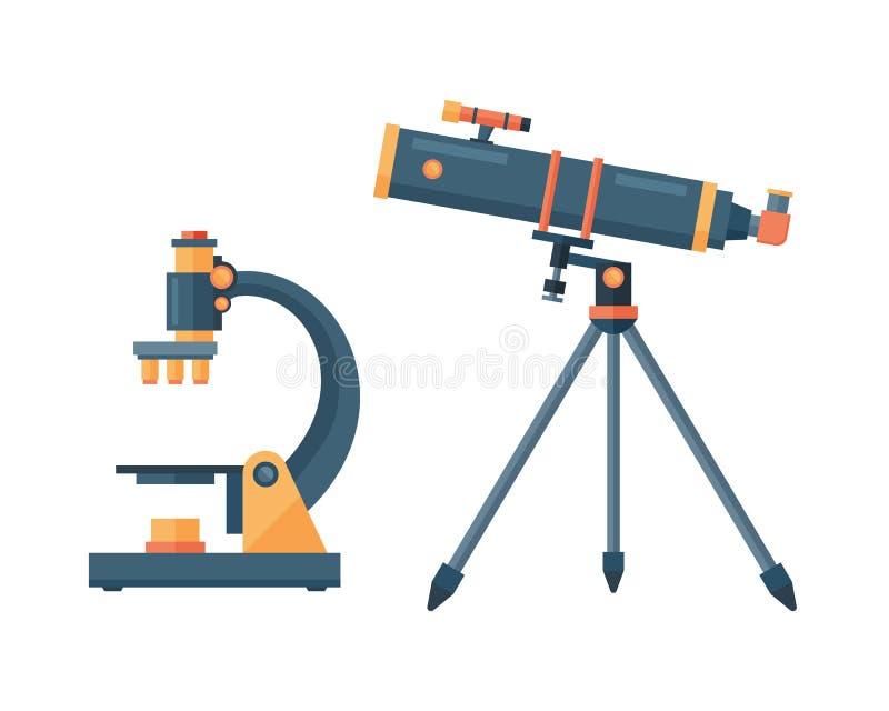 Télescopez pour l'illustration de vecteur d'instrument de découverte de l'espace de la science d'astronomie illustration de vecteur