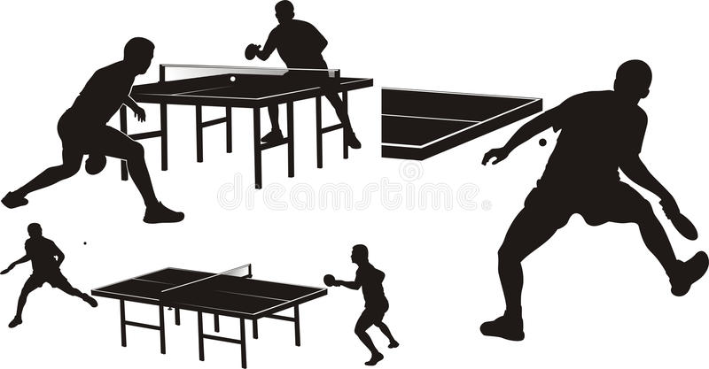Ténis de mesa - silhuetas ilustração stock