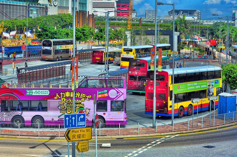 Término de autobuses de Hong-Kong fotografía de archivo libre de regalías