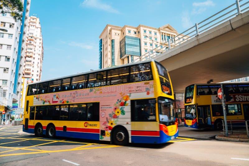 Término del autobús de la terraza de Moreton de la bahía del terraplén en Hong Kong fotografía de archivo